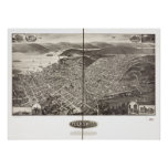 Peekskill New York 1910 Antique Panoramic Map Poster