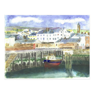 Peel Harbour Isle of Man Postcard