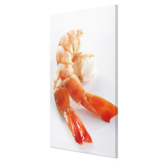 Peeled and cooked shrimp from a breeding - canvas print