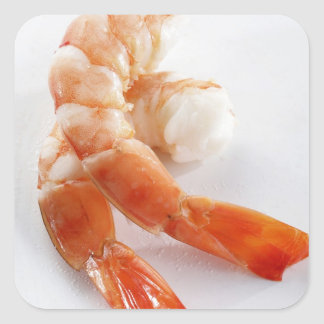 Peeled and cooked shrimp from a breeding - square sticker