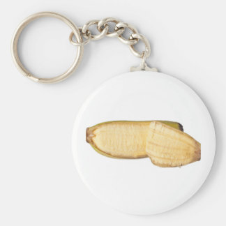Peeled banana basic round button keychain