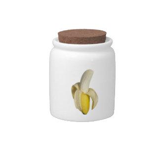 """Peeled banana"" design candy jars"