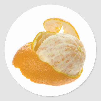 Peeled orange classic round sticker