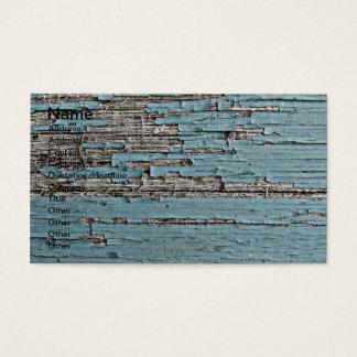 Peeling Blue Paint on Wood Photo Business Card
