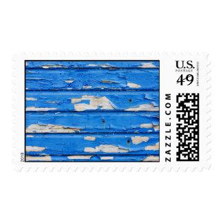 Peeling Blue Paint Postage Stamps