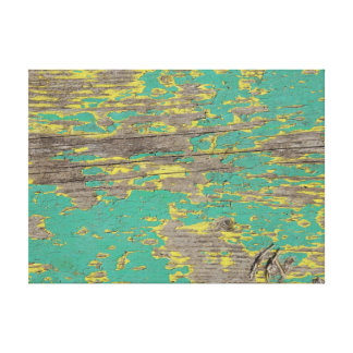 Peeling Green and Yellow Paint Canvas Print