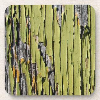 Peeling Green Paint on Weathered Barn Wood Coaster