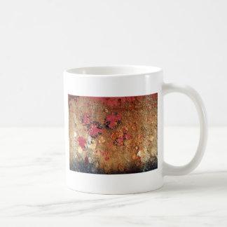 Peeling paint on rusting metal background coffee mug
