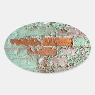 Peeling paint oval sticker