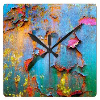 Peeling Paint Square Wall Clock