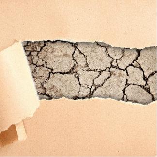 Peeling Paper over Cracked Concrete Cutout