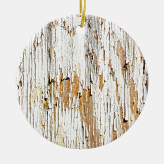 Peeling White Paint Abstract Ceramic Ornament