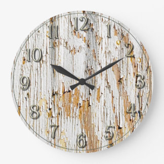 Peeling White Paint Abstract Large Clock