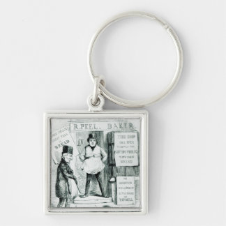 Peel's Cheap Bread Shop Silver-Colored Square Keychain
