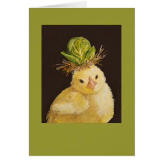 Peep with Brussels sprout hat card