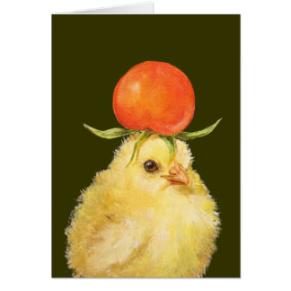peep with cherry tomato hat card