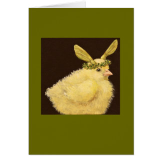 Peep with maple seed hat card