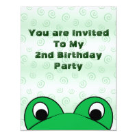 Peeping Frog Birthday Party Invitation