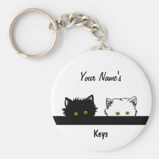Peeping Kittens Basic Round Button Keychain