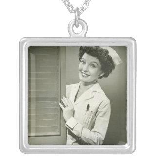 Peeping Nurse Square Pendant Necklace