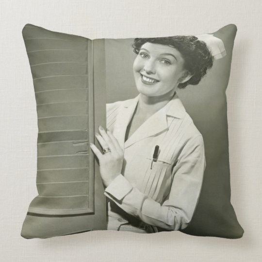 Peeping Nurse Throw Pillow