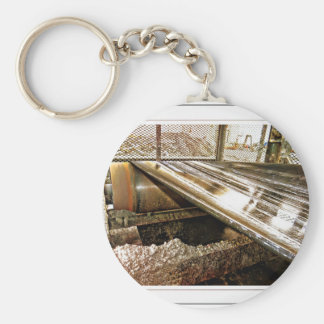 Peeping through the cage basic round button keychain