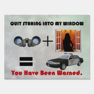 Peeping Tom Warning Sign (Yard Sign)