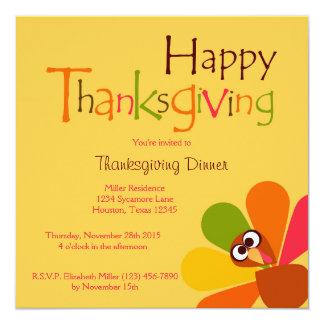 Peeping Turkey Thanksgiving Dinner Invitation