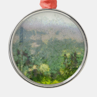 Peering into lush jungle metal ornament