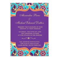 Peerless Paisley Orange & Aqua Wedding Invitation