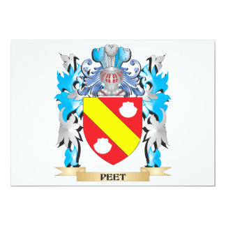 Peet Coat of Arms - Family Crest 5x7 Paper Invitation Card