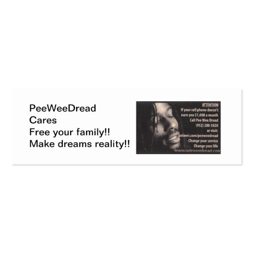 PeeweeDread Cares card Double-Sided Mini Business Cards (Pack Of 20)