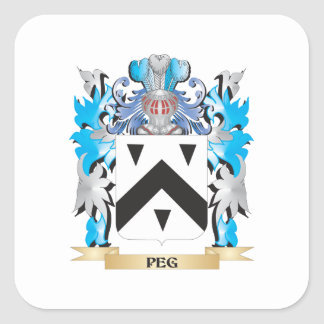 Peg Coat of Arms - Family Crest Square Sticker