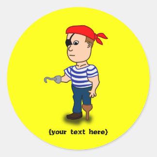 Peg-leg Pirate Classic Round Sticker