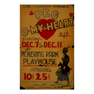 Peg Omy Heart Drama 1940 WPA Vintage Poster