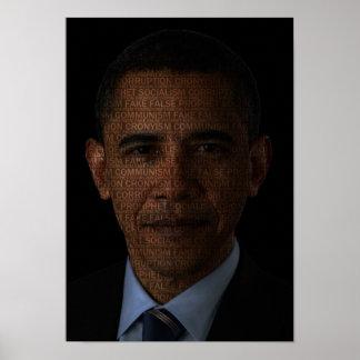 Pega falsa del profeta de Obama Póster