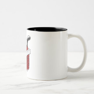 Pegado en chimenea taza de café