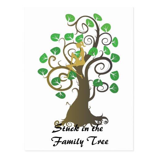 Pegado en el árbol de familia postales