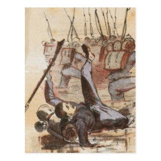 Pegado en la vida de la guerra civil del fango postales