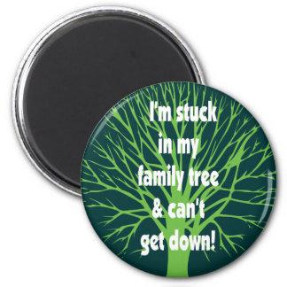 Pegado en mi árbol de familia imán redondo 5 cm