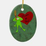 Pegado en usted el ornamento de la tarjeta del día adornos de navidad