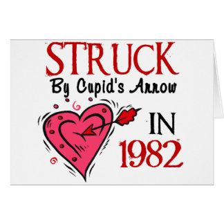 Pegado por la flecha del Cupid en 1982 Felicitacion