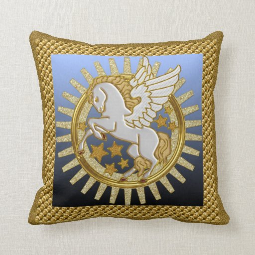 Pegasi Flying Horse Throw Pillow