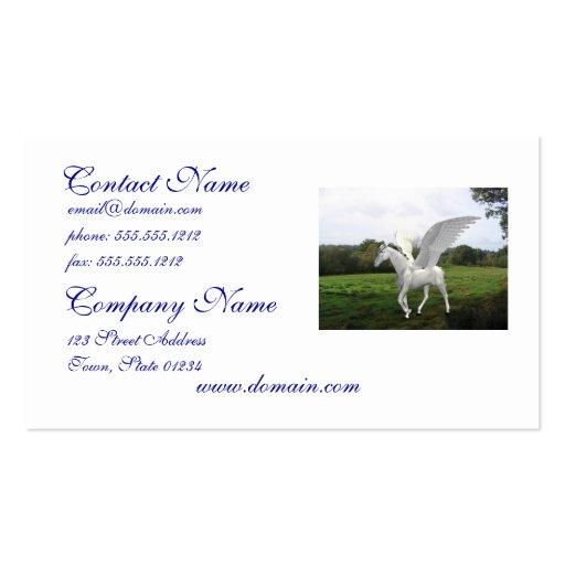 Pegaso blanco en un campo tarjetas de visita