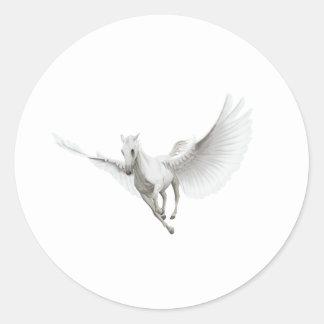 Pegaso blanco etiqueta redonda