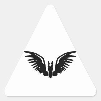 Pegaso/caballo con alas mitológico pegatina triangular