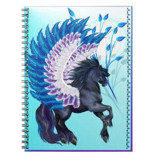 Pegaso con alas azul libreta espiral