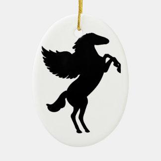 Pegaso el caballo con alas adorno ovalado de cerámica