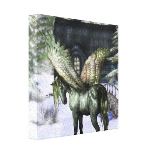 Pegaso en la impresión de la lona del bosque lona estirada galerías