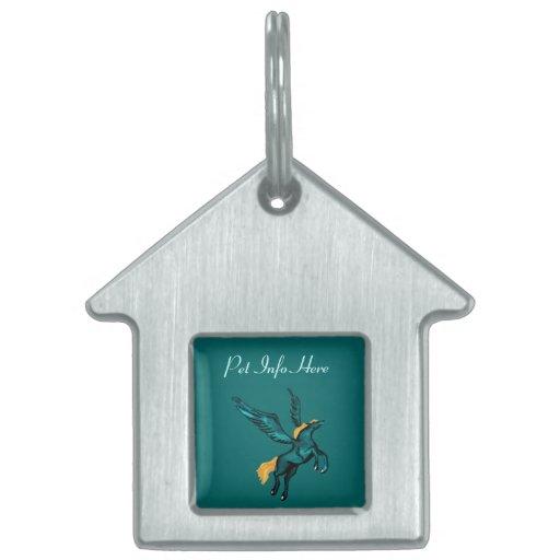 Pegaso (turquesa) placa de mascota